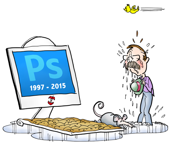 Twitter bird pooping on head of man crying puddle of tears at dead Photoshop monitor gravestone with dead mouse next to dirt-covered keyboard
