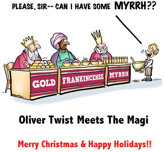 Magi three Wise Men at craft fair tables selling gold frankincense myrrh Charles Dickens Oliver Twist with bowl asking can I have some more myrrh