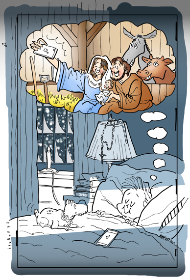 Before final crop image Christmas cover for Inland Register little boy sleeping dog iPhone on bed dreaming of Mary Joseph Jesus taking selfie in stable at Bethlehem