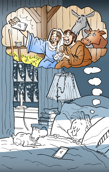 Christmas cover for Inland Register little boy sleeping dog iPhone on bed dreaming of Mary Joseph Jesus taking selfie in stable at Bethlehem