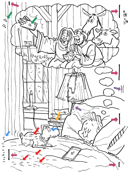Original line drawing with mistakes Christmas cover for Inland Register little boy sleeping dog iPhone on bed dreaming of Mary Joseph Jesus taking selfie in stable at Bethlehem