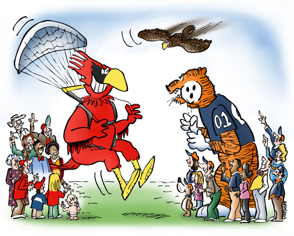 Chick-fil-A 2015 Kickoff Game Auburn Tigers Louisville Cardinals football mascot parachuting onto field fans cheering teams war eagle flying