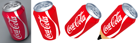 Coca-Cola can extract and build pencil sequence brighten boost color extract onto transparent background add pencil point by pasting in separate layers