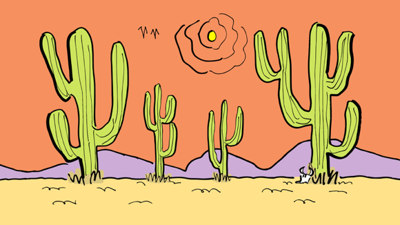 desert backdrop scene flat colors green cacti yellow sand light purple mountains orange sky yellow sun