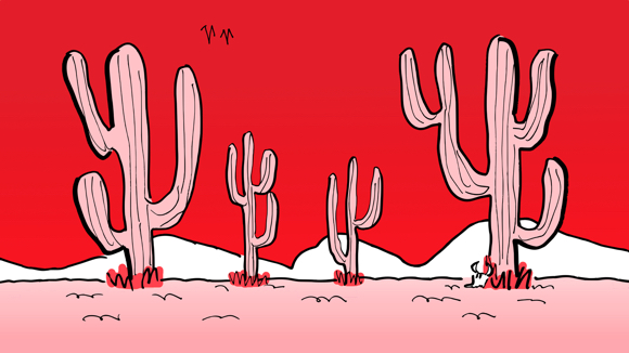 desert backdrop scene convert to Valentine's Day colors pink cacti and sand Coca-Cola red sky