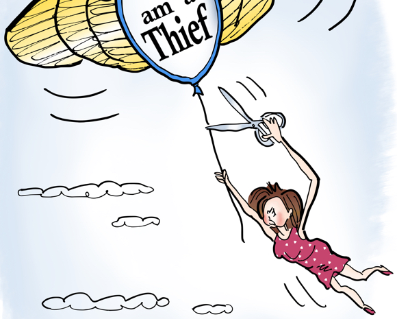 detail image of Woman being dragged up into sky by balloon shaped like airline stewardess wings trying to cut herself free with scissors