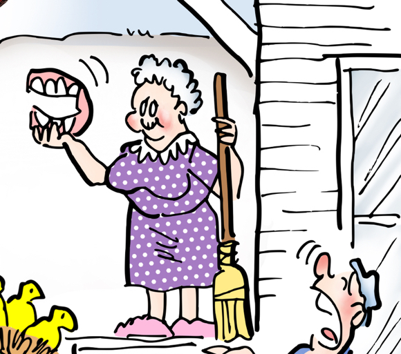 spring cleaning, old granny with broom showing she found her lost false teeth