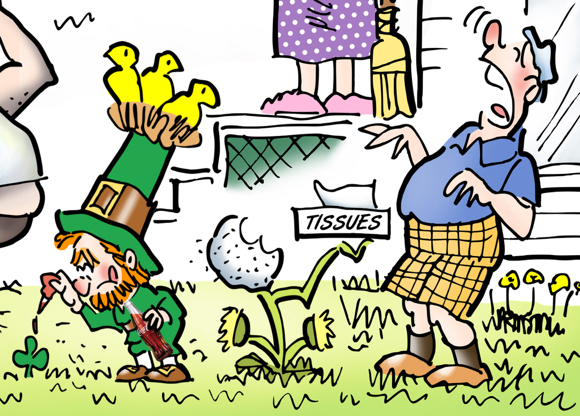 springtime, leprechaun putting drop of Coca-Cola on 3-leaf clover to turn it into 4-leaf clover, dandelion offering Kleenex tissue to guy with hay fever who's about to sneeze