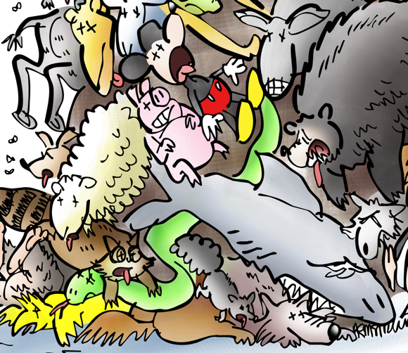 detail image woman in labcoat with broom sweeping up roadkill, enormous pile of dead animals including camel, monkey, rhino, shark, bear, snake, sheep, wolf, donkey, raccoon, many others