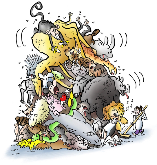woman in labcoat with broom sweeping up roadkill, enormous pile of dead animals including camel, monkey, rhino, shark, bear, snake, sheep, wolf, donkey, raccoon, many others