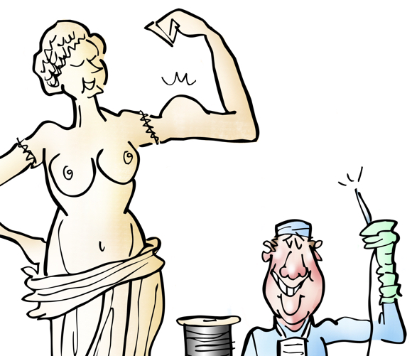 detail image Venus de Milo statue, doctor wearing scrubs with needle and thread has sown Venus's arms back on and she's striking a muscle pose