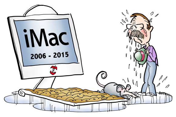 iMac turned into gravestone keyboard covered with dirt dead mouse guy crying because his computer died standing in puddle of tears