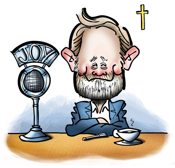 Promotional art for Joyful Catholic radio program, Roman Catholic Diocese of Spokane, Washington, caricature of host Eric Meisfjord sitting at microphone with cup of coffee