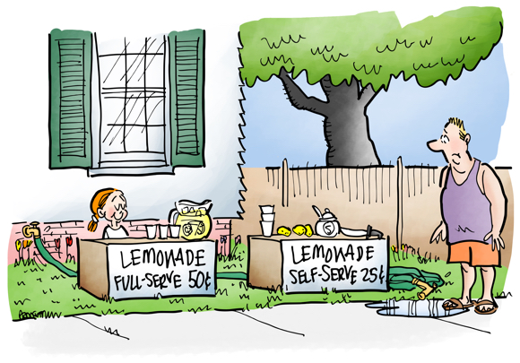 little girl selling lemonade front yard full-serve 50 cents a glass or self-serve 25 cents a glass using garden hose