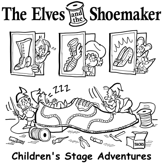 tee-shirt design publicity illustration for children's theater company production of Elves and the Shoemaker people watching from behind shoe pictures