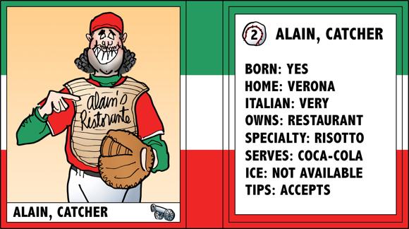 Verona Arsenal Italian baseball team trading card Alain catcher ristorante owner bio likes dislikes