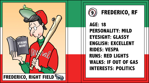 Verona Arsenal Italian baseball team trading card Frederico right fielder rides Vespa socialist politics bio likes dislikes