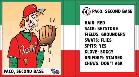 Verona Arsenal Italian baseball team trading card Paco second base chews tobacco spits a lot bio likes dislikes