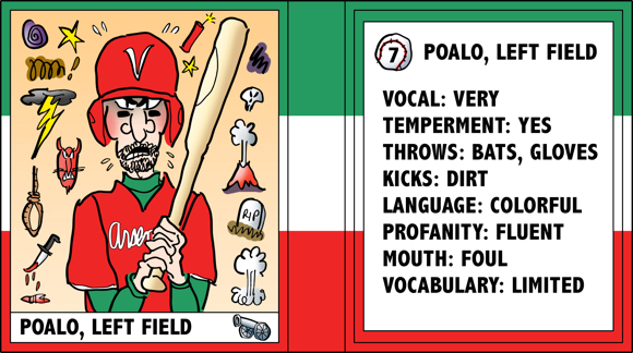 Verona Arsenal Italian baseball team trading card Poalo left fielder bad temper swears a lot bio likes dislikes