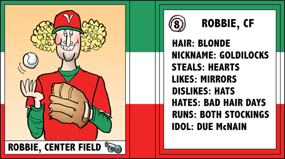 Verona Arsenal Italian baseball team trading card Robbie center field curly blond hair ladies man bio likes dislikes