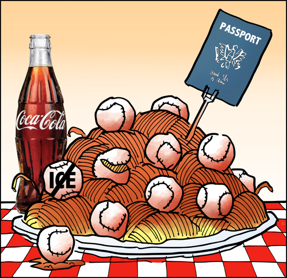 plate of spaghetti with baseballs instead of meatballs on red and white checkered tablecloth bottle of Coke passport