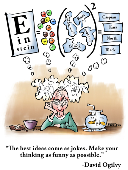 Best ideas come as jokes make your thinking as funny as possible david ogilvy Einstein thinking E eye chart equals M&M's seas squared famous energy equation parody theory of relativity