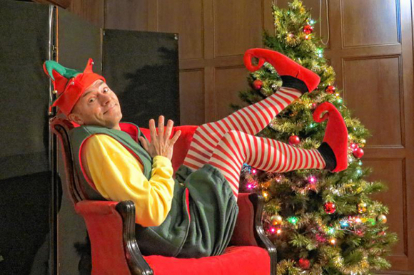Scott Gardner as Crumpet the Elf in The Santaland Diaries based on David Sedaris' essay about working at Macy's during Christmas performed in Peterborough, NH