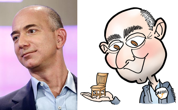 photo compare to caricature Amazon CEO Jeff Bezos holding little chair symbolizing The Customer as most important person in room