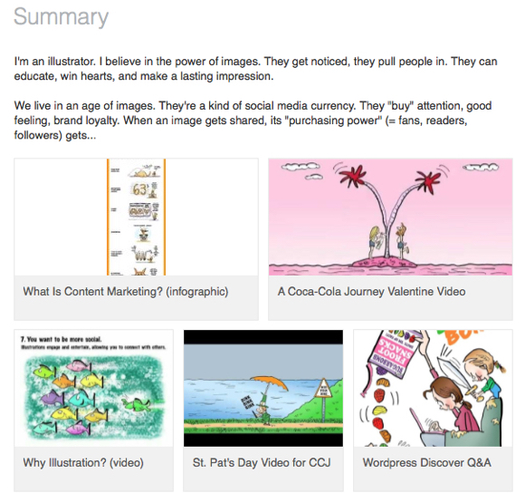 screenshot of work samples in Summary section Mark Armstrong Illustrator LinkedIn profile