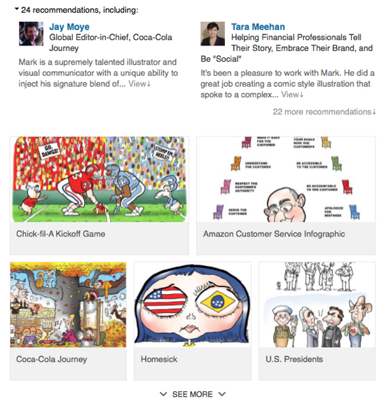 screenshot of work samples in Experience section Mark Armstrong Illustrator LinkedIn profile