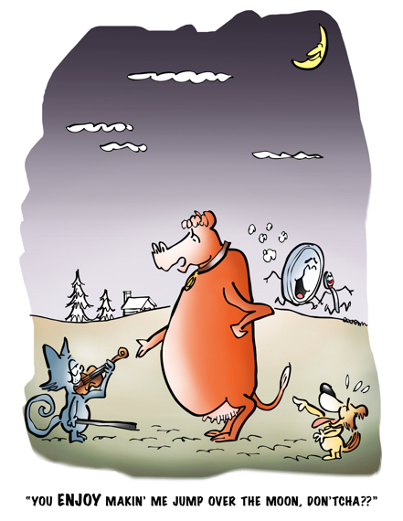 cartoon based on Mother Goose nursery rhyme Hey Diddle Diddle cow accusing cat with fiddle of making him jump over moon little dog laughs dish running away with spoon