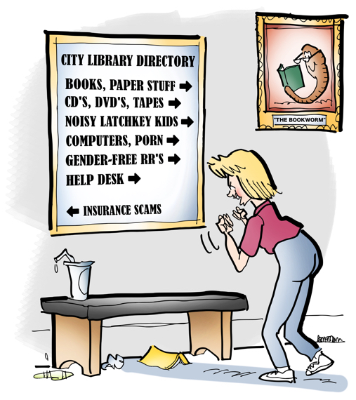 woman at public library looking at directory sign showing books, CDs, DVDs, latchkey kids, computers, pornography, gender-free restrooms, help desk, insurance scams