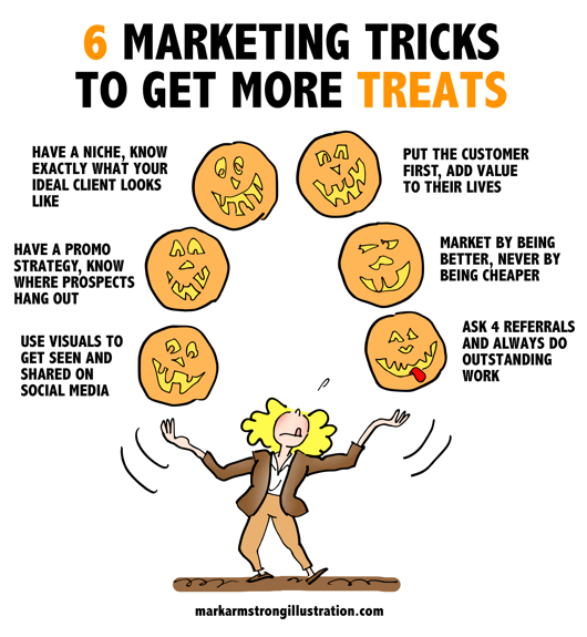 detail image Infographic woman juggling jack o'lanterns marketing tricks to get more treats have niche ideal client content promotion strategy use visuals put customer first never undervalue your work don't sell yourself cheap ask for referrals