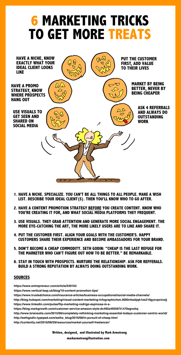 Infographic woman juggling jack o'lanterns marketing tricks to get more treats have niche ideal client content promotion strategy use visuals put customer first never undervalue your work don't sell yourself cheap ask for referrals