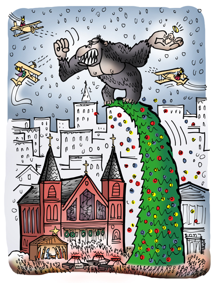 King Kong steals Baby Jesus from creche in front of church climbs up on top of big Christmas tree, magi wise men in planes are shooting at him while police and crowd watches from below