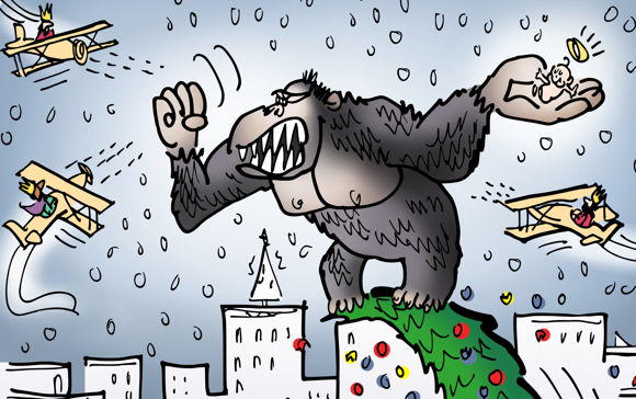 detail image King Kong steals Baby Jesus from creche in front of church climbs up on top of big Christmas tree, magi wise men in planes are shooting at him while police and crowd watches from below