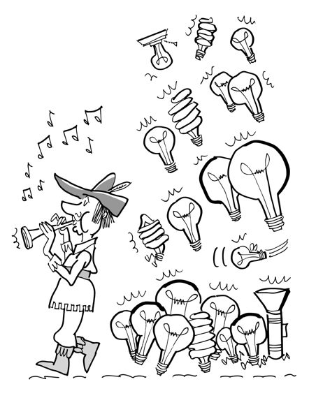 Pied Piper character playing music being followed by different kinds of light bulbs representing different ideas