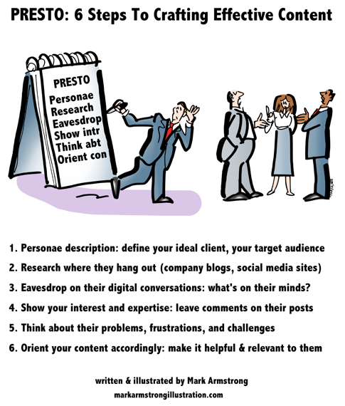 man with big notepad eavesdropping on business conversation 6 steps for creating effective content define client personae research their pain pains concerns leave comments demonstrate expertise post content helpful to target audience