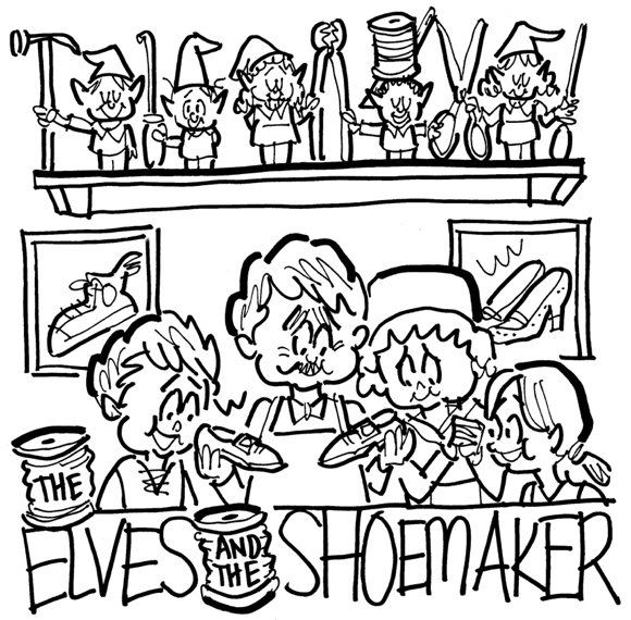 rough sketch elves shoemaker theater poster kids playing parts elves on shelf with cobbler tools spools of thread