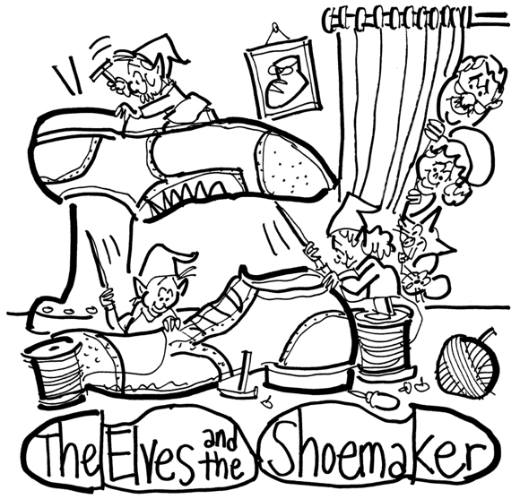 rough sketch theater poster elves shoemaker title displayed inside shoe soles family watching elves work from behind curtain