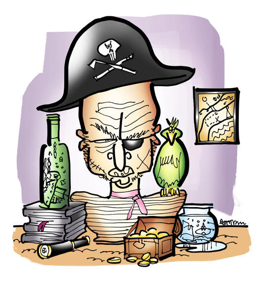 pirate bust with pirate hat eyepatch parrot on shoulder ship in bottle fishbowl telescope tiny chest with gold pieces treasure map on wall