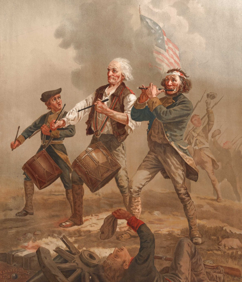 Archibald Willard painting The Spirit of '76, three men marching through Revolutionary War battlefield wounded playing fife drums smoke American flag