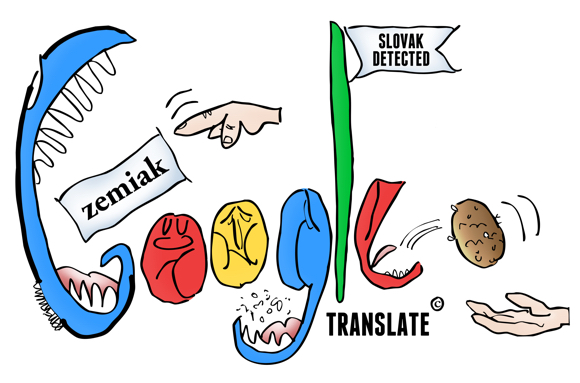 Google Translate parody of Google doodles hand dropping Slovak word in mouth letters chew Slovak detected letter E spits out potato