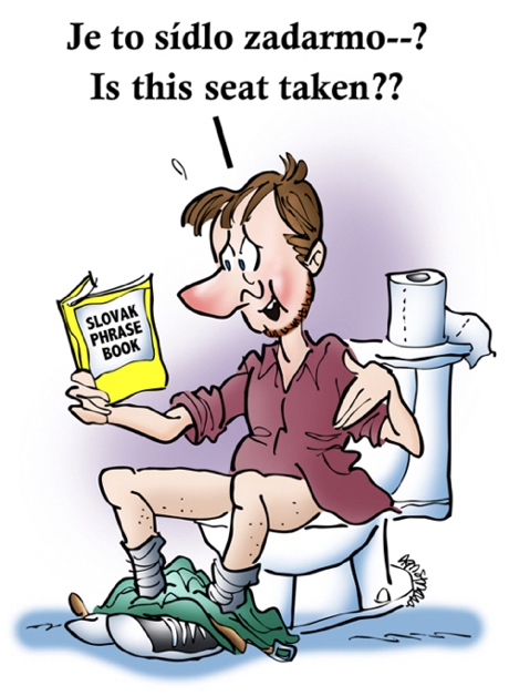 man sitting on toilet with Slovak phrase book saying Je to sídlo zadarmo meaning Is this seat taken?