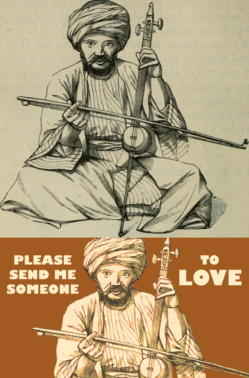 photo compare Middle Eastern man turban robes playing banjo like instrument with bow before and after restoration manipulation add text color