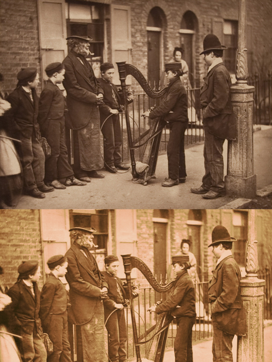 photo compare boy playing harp on street in Victorian London before and after restoration manipulation coloring