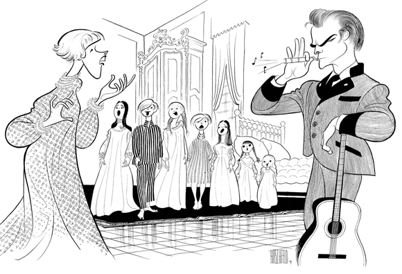 Al Hirschfeld illustration Sound Of Music caricatures of Julie Andrews Christopher Plummer guitar Captain blowing whistle