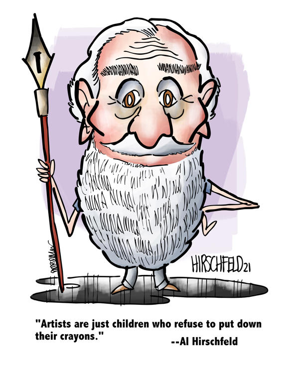 caricature of illustrator Al Hirschfeld by Mark Armstrong with 21 Ninas quote artists are children who refuse to put down their crayons