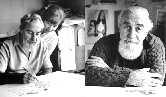 caricaturist Al Hirschfeld with daughter Nina 1961 and as an older man late in his career