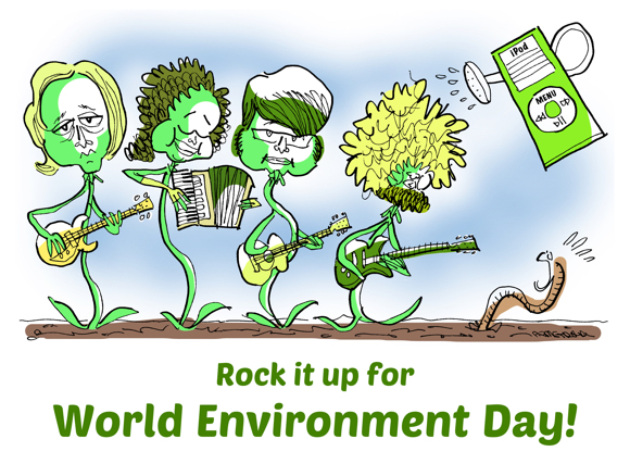 World Environment Day 2017 indie rock band as seedlings springing up from earth playing guitars accordion scaring worm being sprinkled with iPod watering can